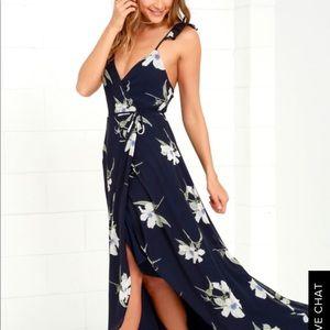 Navy blue waist tie floral dress